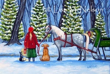 Christmas Scenery / Yes, it is snowing today and this print is beautiful.