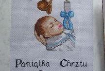 Haftowane pamiątki chrztu / To tylko część moich prac :) Jeśli podobają ci się i chcesz je mieć to zapraszam do kontaktu: cohenna@o2.pl
