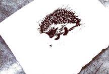 Lino cut hedgehog