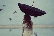 red hair girl / lake, umbrella, red hair