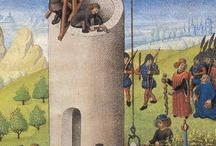 Le chantier au moyen âge / Enluminure, gravure des techniques de construction des chantiers au moyen âge période médiévale cathédrale châteaux forts