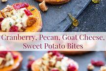 Cranberry, pecan goat cheese sweet potatoe rounds