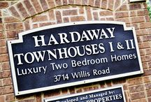 Hardaway Townhouses / For the luxury feeling of living in a custom home at a price you can afford, you'll instantly fall in love with Hardaway Townhouses. Each townhome has 2 bedrooms and 2.5 bathrooms and is totally electric. Standard amenities include a dishwasher, microwave, and garbage disposal. Additional luxury amenities comprise of a walk-in closet, a laundry room / pantry area, and ceiling fans that you won't find anywhere else. Water is included, and we welcome small dogs under 25 pounds