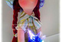 Boneca  - Na colheita de alfazema / Boneca em tecido com cabelo sintético Colhendo alfazema