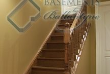Basement stairs and railing
