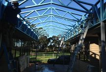 Tooradin Primary School / Cathedral Style trusses between two used portable buildings.