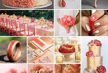 coral &  gold wedding