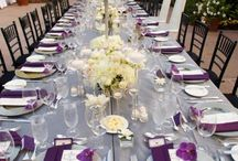 Table setting ideas using purple and silvery able we / Table setting ideas