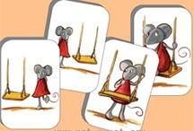 Trois souris en papier