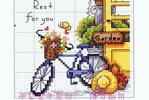 Cross stitch - bicycles