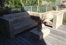 Steigerhouten lounge tuinset