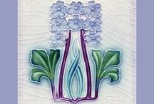 Art Nouveau çiçekli çini
