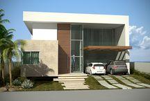 Casa contemporânea / Fachada casa contemporânea em alphaville litoral norte 01