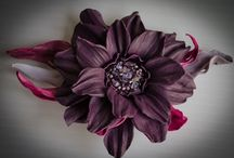 Brooches /   leather flower brooch