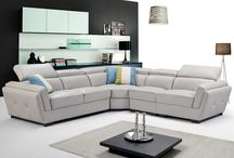 Modern Contemporary Genuine-Leather Light Grey Sectional