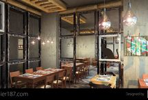 Balikci, Istanbul - Restaurant / The restaurants design inspired by the local fishmarkets. The separation between seating areas are done with old window frames. This breaks the rather large dining area into few more cosy ones. The open bulbs serves as lighting just in the fishmarkets, and the silhouette of cats are placed as they are the indispensable animal among the fishmongers.
