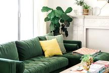 Green & gold living room