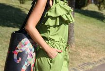 "Amanda Chic - MONO VERDE CON VOLANTES / DAILY LEATHER BUCKET BAG ""THE FORTUNATE ELEPHANT"""