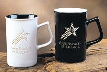 Engraved Coffee Mugs / Personalized Coffee Mugs, Each mug is deep engraved with your logo or personalized text.  Engraved mugs make a lasting impression since designs will not wear off in the dishwasher.  #EngravedCoffeeMugs  / by Personalized Engraved Gifts