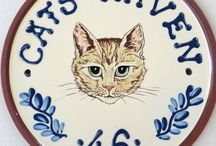 Cats Corner / Original Exterior Plaques and Commemorative wares and artwork by artist potter Lucienne de Mauny