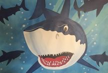 Custom painted Party Table Backdrops by Kid Murals by Dana