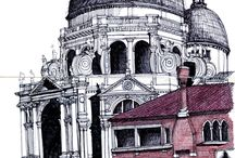 Architectural Renderings / Architectural drawings, paintings and mixed media
