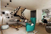 Dom Brzozowa / Jasne kolory, czyste formy, dużo słonecznego światła tworzą skandynawską przestrzeń. Ocieploną kolorowymi dodatkami w postaci krzeseł i lamp. W tym przypadku biel potraktowana jest jako płótno dla zaskakujących, niejednoznacznych rozwiązań.  Po więcej inspiracji zapraszamy na naszą stronę: http://monostudio.pl/portfolio_item/dom-brzozowa/ oraz na Facebooka