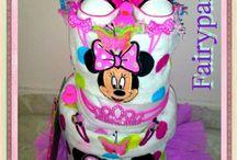 diaper cakes for girls / Δωροτουρτες για νεογεννητες πριγκιπισσες