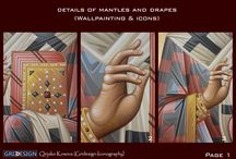 Mantles and drapes details. / Dettails of mantles and drapes.(Wallpaintings and Icons) M.Iconog.Qirjako Kosova (Gridesign-Iconography)