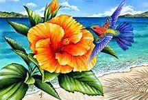 pintura de flores con pajaritos
