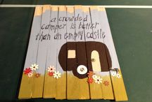 Board Chick's Crafts-  Mixed Media Art made by Glenna Elliot / Camping Fun