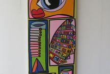 """""""Schulter / Der Wächter"""" / """"Schulter / Der Wächter."""" Acryl on Canvas, 0,40 m x 1,20 m, by Mimi von Minz."""