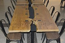 Conference & Boardroom Tables / Custom Conference & Boardroom Tables Made from Reclaimed Barn Wood & Live Edge Wood. Custom Metal Bases.