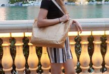 Bo-borsa in Las Vegas / Victoria with one of our best-selling rope handle bags in front of the Bellagio Hotel, Las Vegas