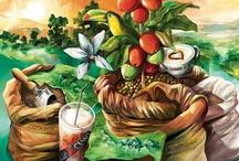 CUP&CINO auf Leinwand / Die herrliche CUP&CINO-Welt gibt es auch gemalt auf Leinwand. Für alle CUP&CINO-Fans, die etwas exotische Stimmung zu Kaffee und Kaffeemaschine lieben.