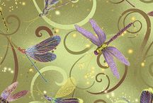 Dance of the Dragonfly by the Kanvas Studio / Exquisite printing, beautiful colours and design, lovely theme - Dance of the Dragonfly has all the makings of a fabric classic.   Enhanced with metallic gold for the extra special look.