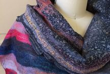 Nuno Felted Scarves - a Series / Showing a series of nuno felted scarves on recycled saris -