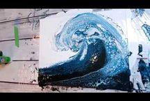 ocean wave a rylic pour