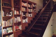 Bookshelves, stairs, storage