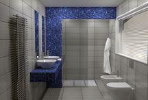 BLUE AND WHITE / Σχεδιασμός και φωτορεαλιστική απεικόνιση για ανακατασκευή ενός μπάνιου σε κατοικία στην Πάρο.