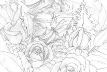 art coloring permandangan dan tumbuhan