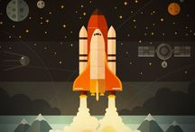 Space Illustrations / Illustrations of space craft and space exploration - contemporary and vintage. Rockets, satellites, planetary probes, astronauts, cosmonauts, et al.