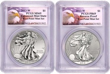 2013 Silver American Eagle PCGS Two Coin Sets