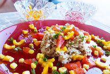 ♥ Salades en folie ! / Salades, taboulés, à base de légumes, de céréales, et féculents, avec une vinaigrette, avec une sauce à la crème de soja... On ADORE les salade !