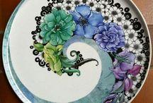 Platos pintados porcelana