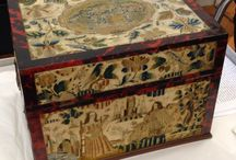Needlework Caskets & Boxes / 17th century needlework covered boxes for storing small treasures