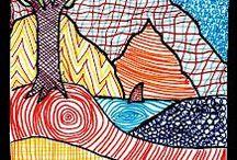 Renkli çizgilerle boyama