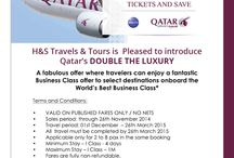 H&S Travels / H&S Travels & Tours is Pleased to introduce Qatar's DOUBLE  THE LUXURY A fabulous offer where travelers can enjoy a fantastic   Business Class offer to select destinations onboard the World's Best Business Class*   For more information you can reach us @ info@2mycountry.com Hours of Operation: 24 Hours - 7 Days a Week