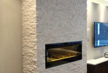 Polar White Real Stacked Stone & Dimplex Fireplace / Polar White Real Stacked Stone & Dimplex BLF50 Electric Fireplace