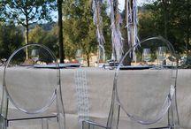 Table de fête inspiration champêtre chic / Nappe fouta pour une ambiance festive au style champêtre chic